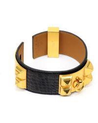 Hermès - Collier De Chien Black Exotic Leathers - Lyst