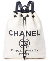 Chanel Deauville Cloth Backpack - White