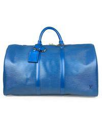 Louis Vuitton Keepall Leder Wochenende Tasche - Blau