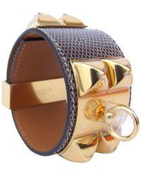 Hermès Collier De Chien Grey Exotic Leathers Bracelet - Gray