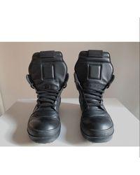 Rick Owens Drkshdw Leather High Sneakers - Black