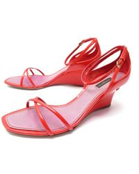 Louis Vuitton - Red Patent Leather Sandals - Lyst