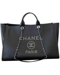 Chanel Deauville Leder Shopper - Schwarz