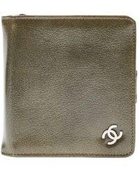 Chanel Khaki Patent Leather Purse/wallet - Multicolour