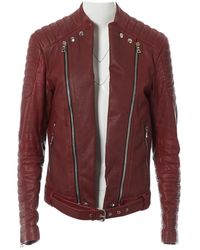 Balmain Burgundy Leather Jacket - Red