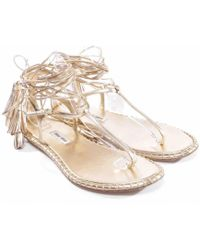 f0e317e7706 Lyst - Miu Miu Crystal Strap Flat Sandal Silver in Metallic