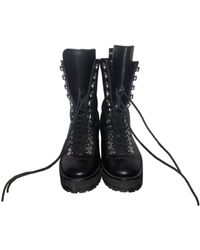 The Kooples Fall Winter 2019 Leather Biker Boots - Black