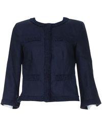 Michael Kors Navy Linen Jacket - Blue