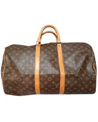 Louis Vuitton Keepall Cloth Travel Bag - Brown