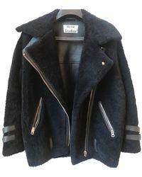 Acne Studios Velocite Shearling Biker Jacket - Black