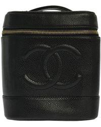 Chanel Black Leather Travel Bag
