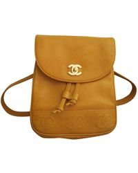 Chanel Leather Backpack - Yellow