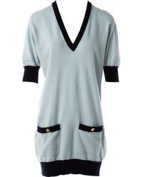 Chanel - Pre-owned Vintage Blue Cashmere Dresses - Lyst