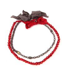 Lanvin - Red Metal Necklace - Lyst