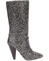Veronica Beard Silver Glitter Boots - Metallic
