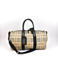 Burberry - Pre-owned Black Leather Travel Bags - Lyst
