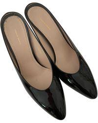 Mansur Gavriel Patent Leather Mules - Black