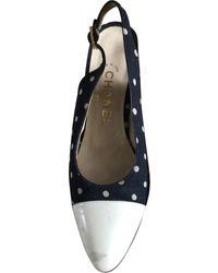 Chanel Escarpins Slingback en Toile Marine - Bleu