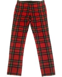 Burberry Wool Slim Trousers - Red