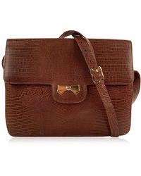Nina Ricci \n Brown Exotic Leathers Handbag