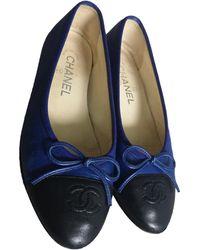 Chanel Ballerines en Cuir Bleu