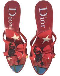 Dior Leinen Pantoffeln - Rot