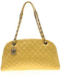 Chanel Mademoiselle Leather Satchel - Yellow