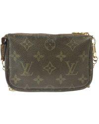 Louis Vuitton Vintage Pochette Accessoire Brown Cloth Clutch Bag