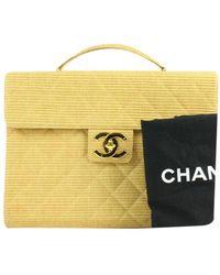 Chanel Yellow Cloth Handbag