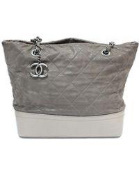 Chanel - Gabrielle Grey Leather Handbag - Lyst