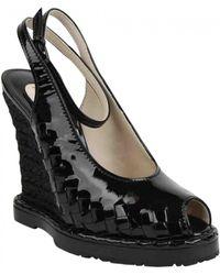 Bottega Veneta Patent Leather Sandals - Black