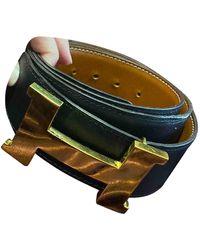 Hermès H Black Leather Belt