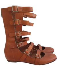 Chloé Leather Buckled Boots - Brown