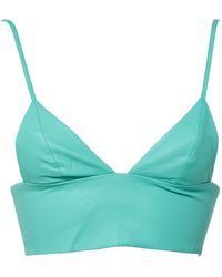 T By Alexander Wang Turquoise Leather Top - Blue