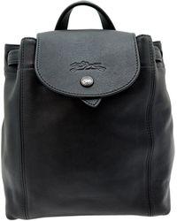 Longchamp Sac à dos Pliage en cuir - Noir