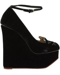 Charlotte Olympia - Pre-owned Velvet Court Shoes - Lyst