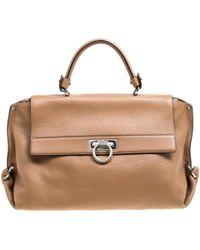 Ferragamo - Pre-owned Sofia Brown Leather Handbags - Lyst 8c8bc1842a2f3
