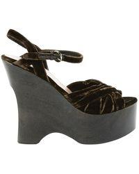 Miu Miu Brown Velvet Sandals