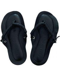 Acne Studios Leather Flip Flops - Black