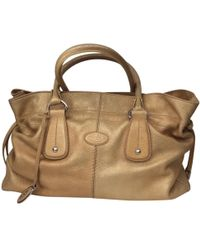 Tod's - Pre-owned 100% Authentic Gold Glazed Medium Leather Tote - Lyst