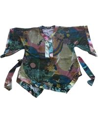 John Galliano Multicolor Velvet Top