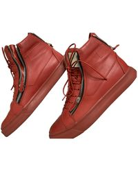 Giuseppe Zanotti Leather High Trainers - Red
