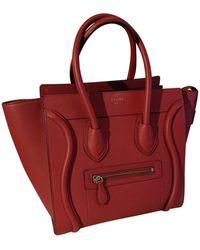 Céline Luggage Leder Handtaschen - Rot