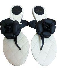 Chanel Black Plastic Sandals