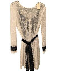 Maje Vestido en algodón - elastano blanco - Multicolor