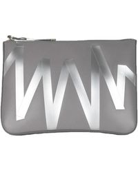 Christopher Kane Gray Leather Clutch Bag