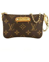 Louis Vuitton Milla Brown Cloth Clutch Bag