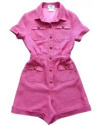 Chanel Vintage Pink Wool Jumpsuits