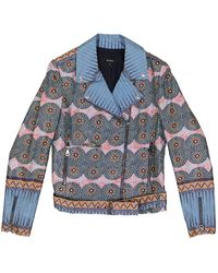 SUNO Multicolor Cotton Jacket - Blue