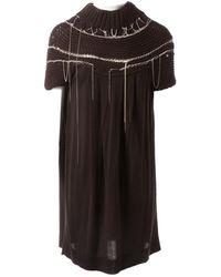 Balmain Robe en Laine Marron - Noir